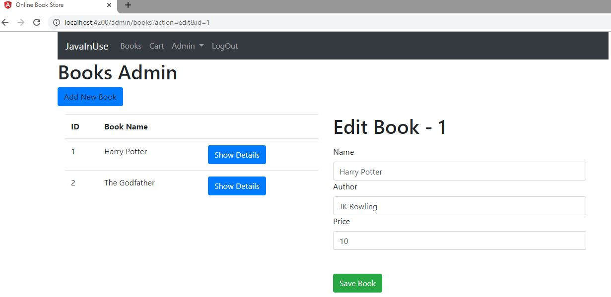 angular spring boot ecommerce admin edit books