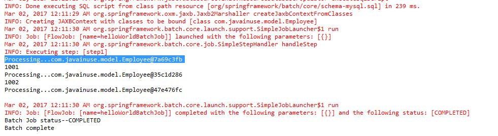 Spring Batch Hello World example- Write data from csv to xml