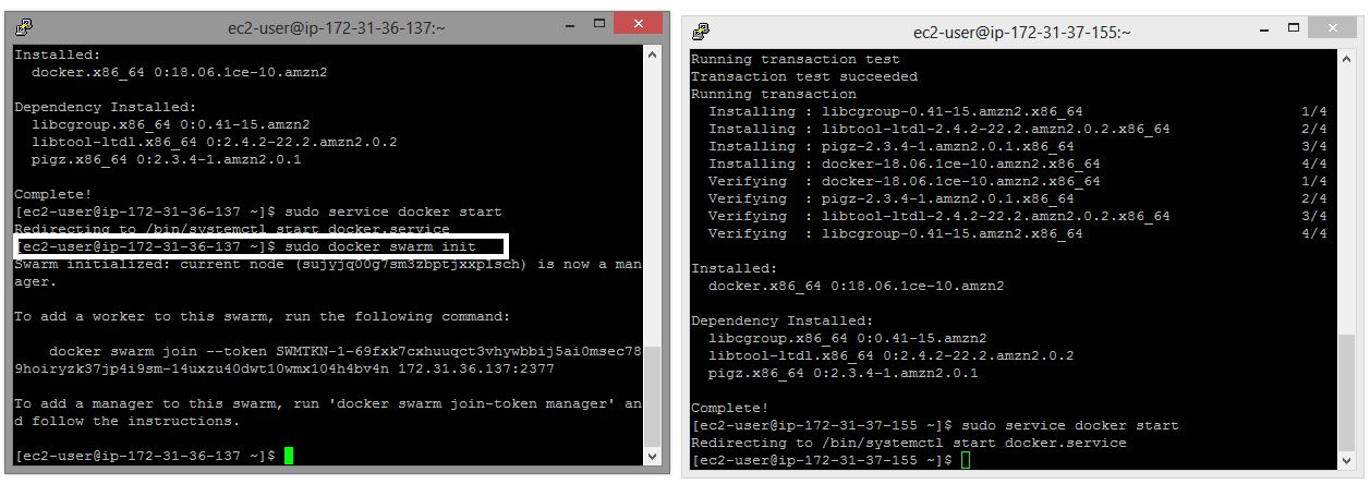 EC2 instance start docker service