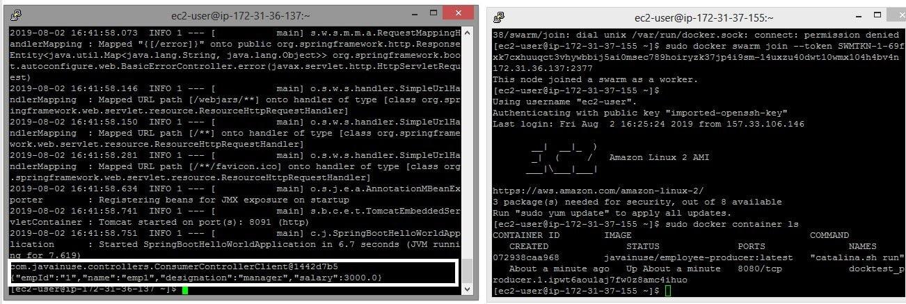 EC2 instance docker service logs