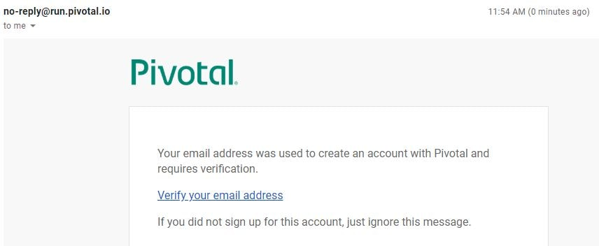 Pivotal Cloud Foundry Mail Verification